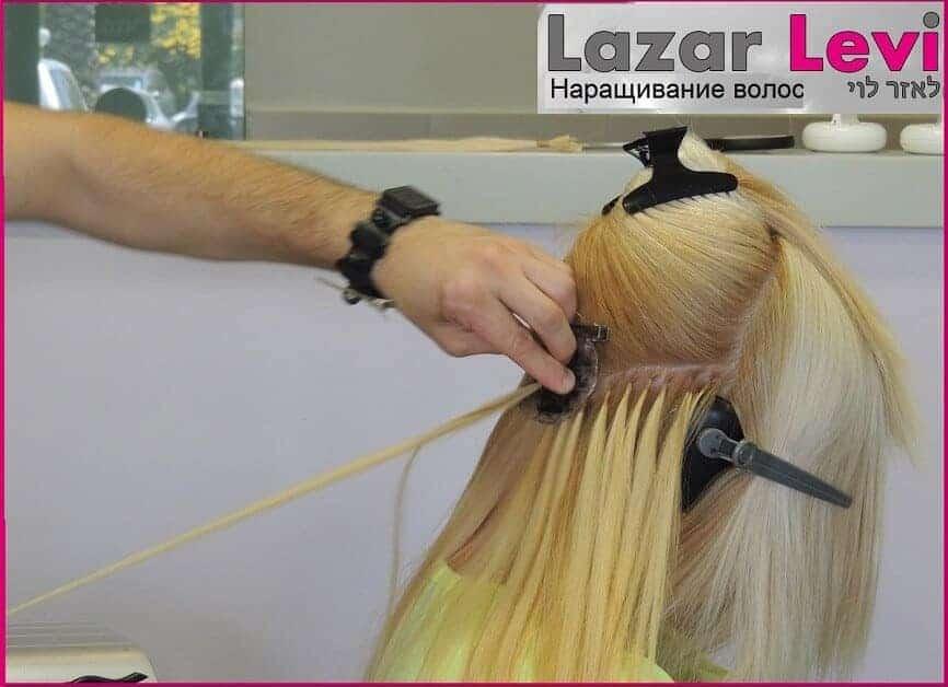 סוניה הארכת שיער בלונד חלק - בזמן תהליך