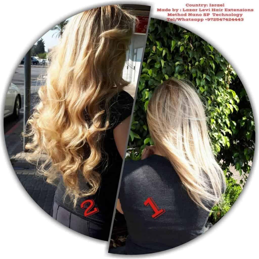 הארכת שיער בלונד לפני ואחרי