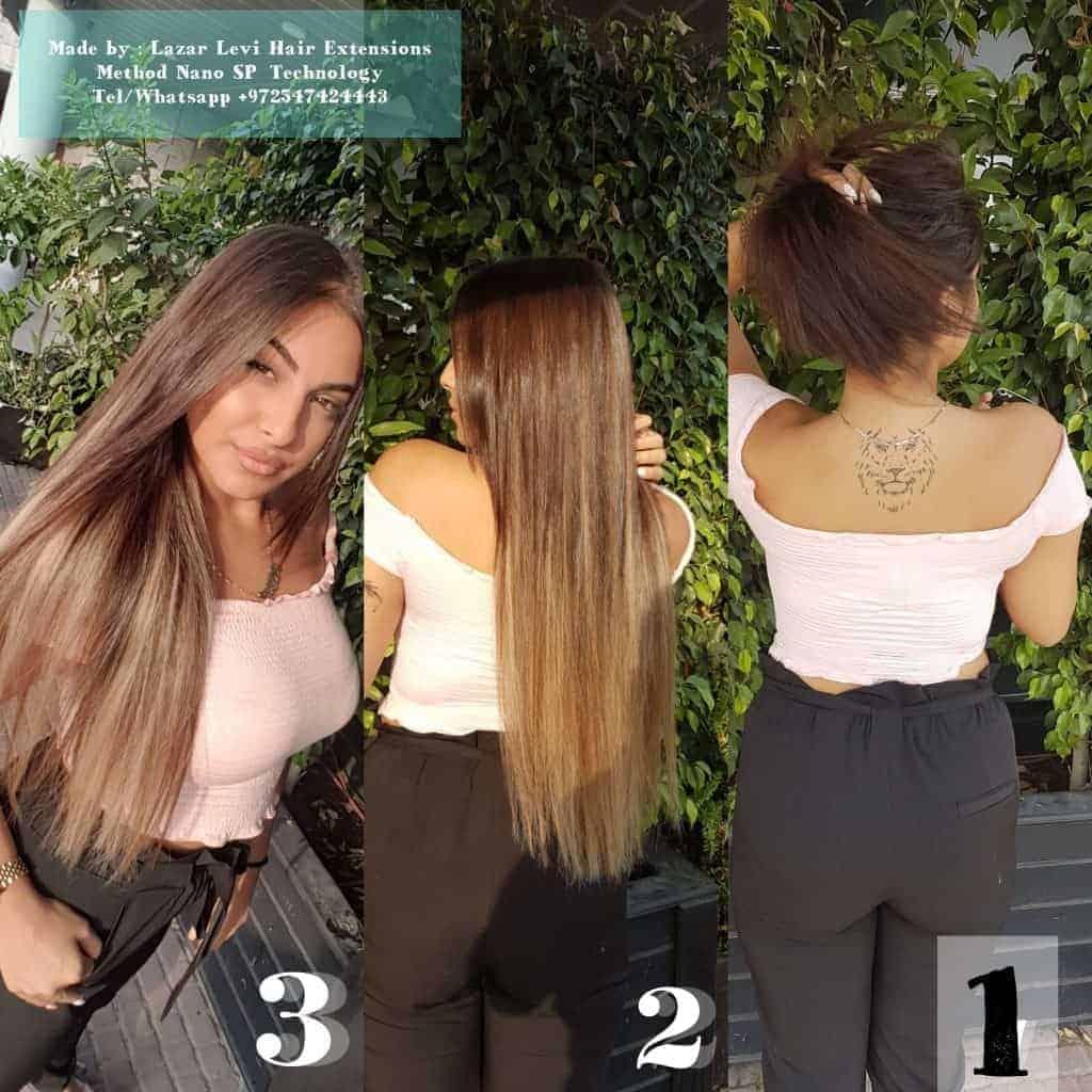 הארכת שיער חום כהה - לפני ואחרי