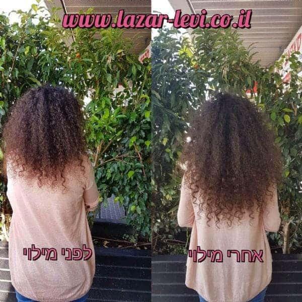 מילוי והארכת שיער תלתלים - לפני ואחרי